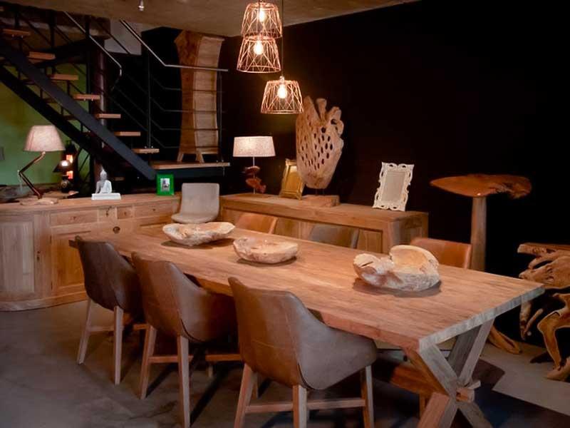 table jardin teck 6 personnes bois