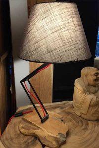 lampe teck abat jour lin