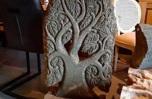 arbre sculpte pierre jardin
