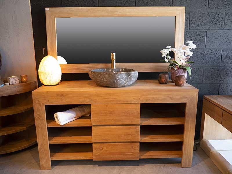 meuble salle bain teck 1 vasque pierre