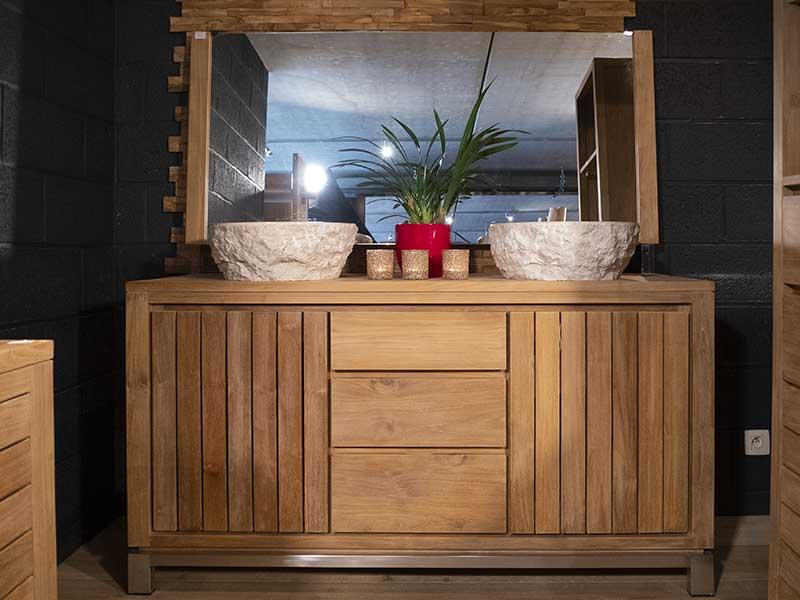 meuble salle bain teck 2 portes 3 tiroirs