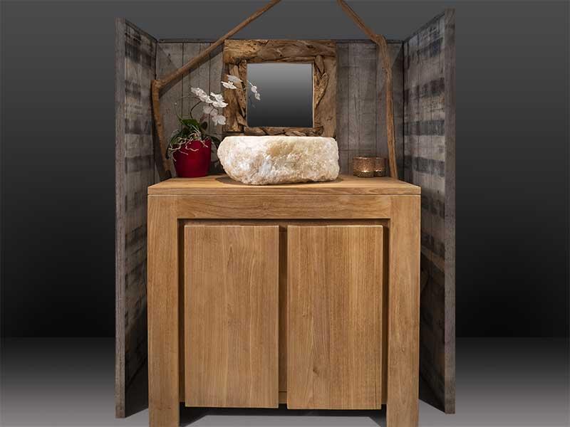 meuble teak sdb 2 portes