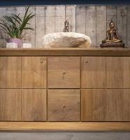 salle bain teck vasque pierre